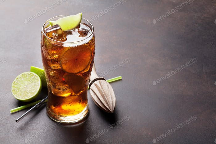 Cuba libre cocktail glass