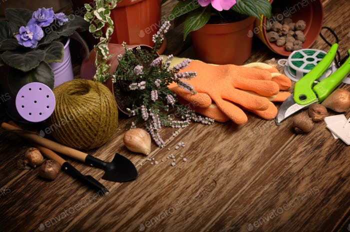 Gardening tools of cutter labels rake rope gloves wire on wooden