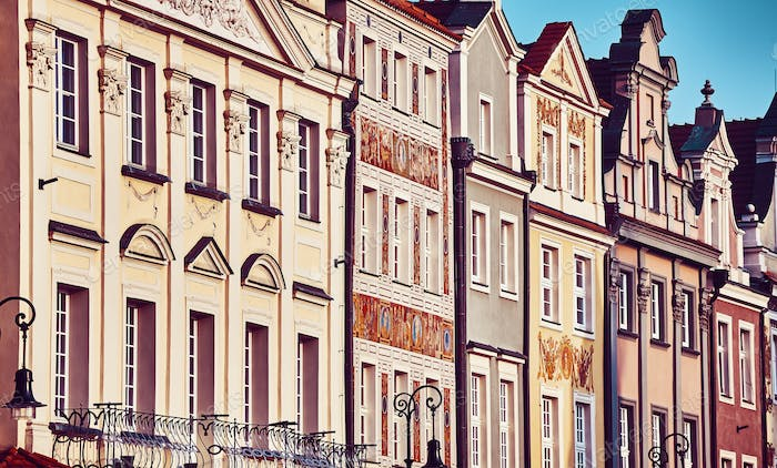Houses facades at Poznan Old Market Square, Poland.