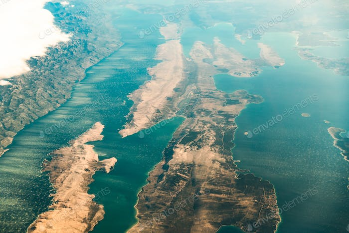 Croatia. Aerial View Of Island Pag In Adriatic Sea From Window O