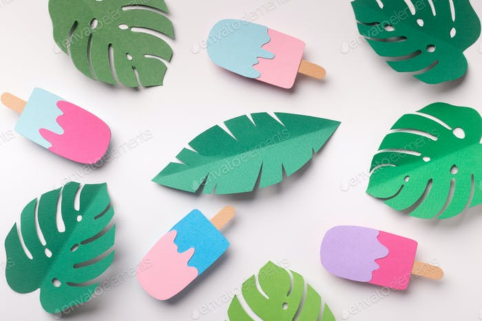 Summer background with ice cream and monstera leaves