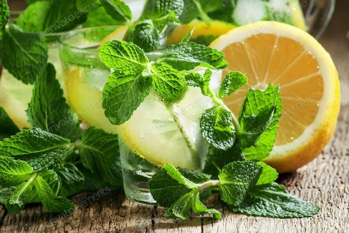 Cool mint lemonade in glasses