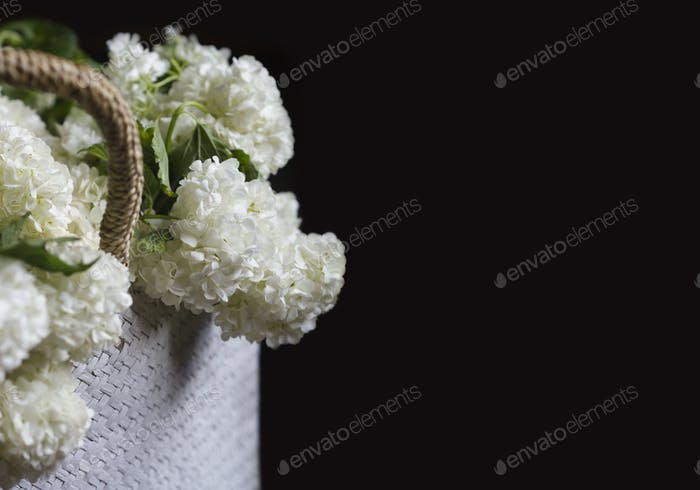 side view of white flowers in a wicker bag