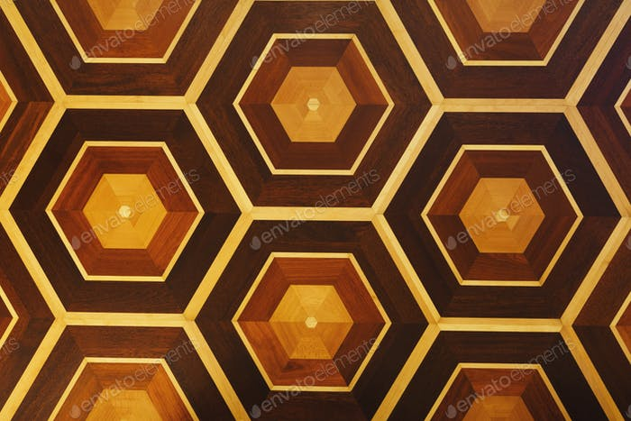 Honeycomb pattern of wooden wall, copy space