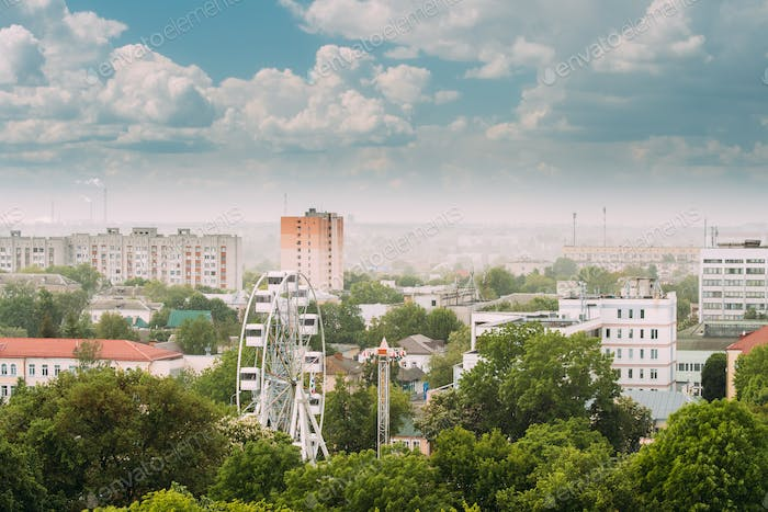 Gomel, Belarus. Cityscape And Architecture. Top Aerial View Of F
