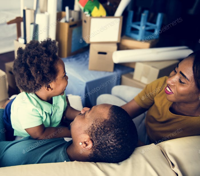 Black family enjoy precious time together happiness
