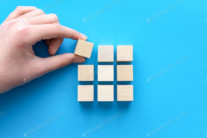 Thumbnail for Business strategy theme concept using wood block