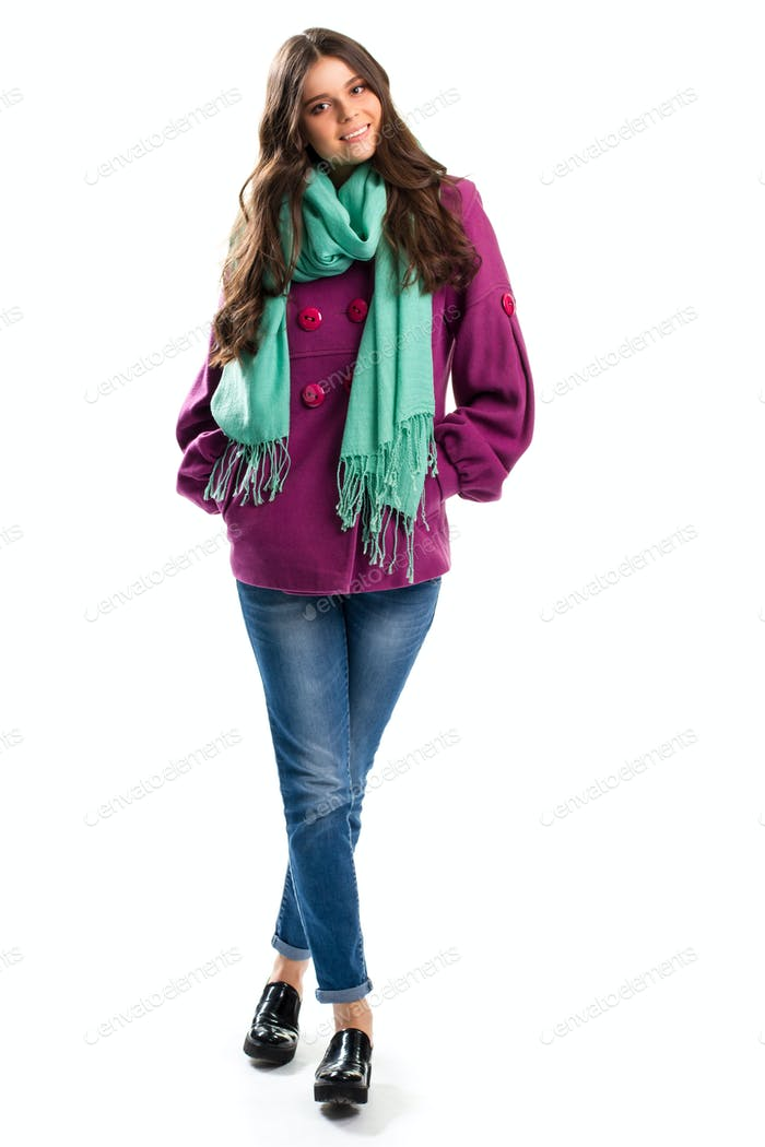 Smiling woman in purple coat