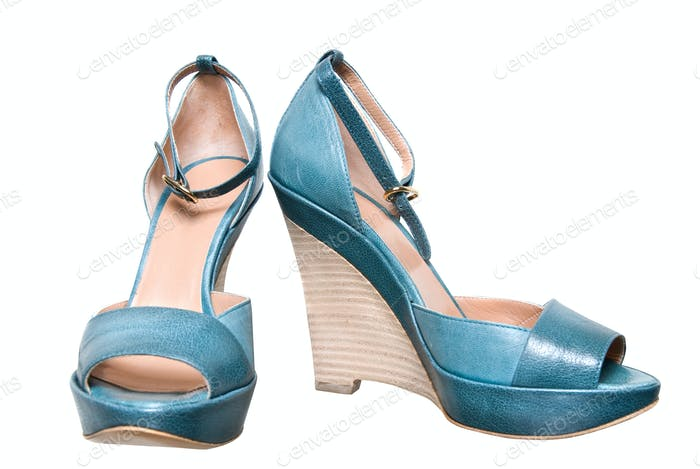 blue leather female shoes isolated on white
