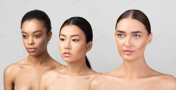 Beauty Portrait Of Asian, Caucasian And African Girls, Gray Background