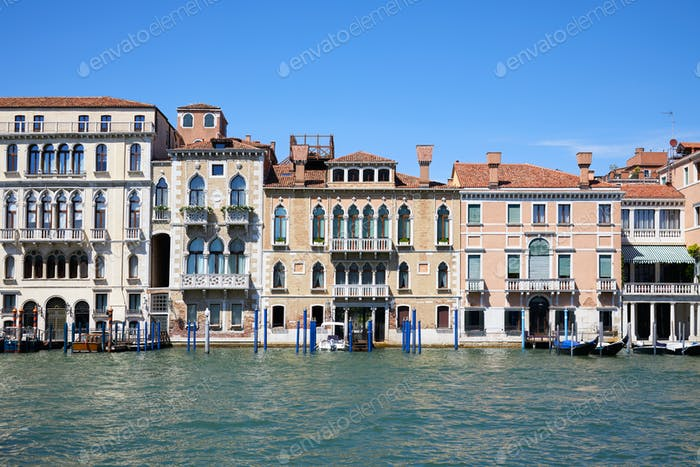 Venice ancient buildings facades and the grand canal, Italy