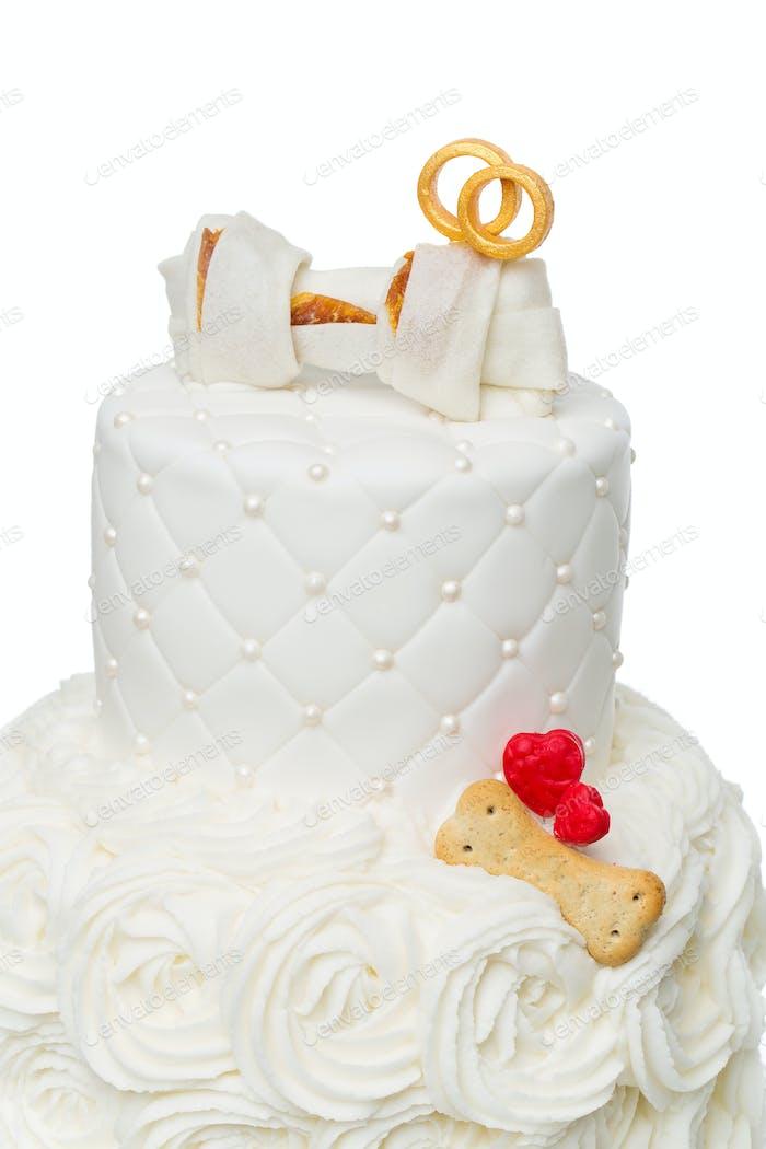 Kuchen mit Knochen für Hund Hochzeit