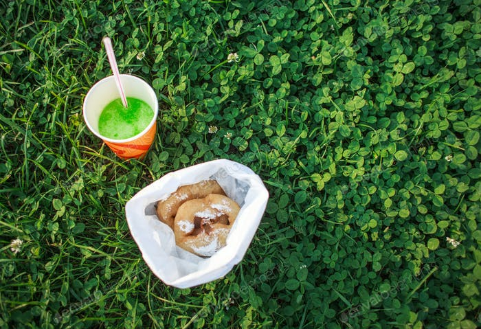 food for picnic on grass lawn