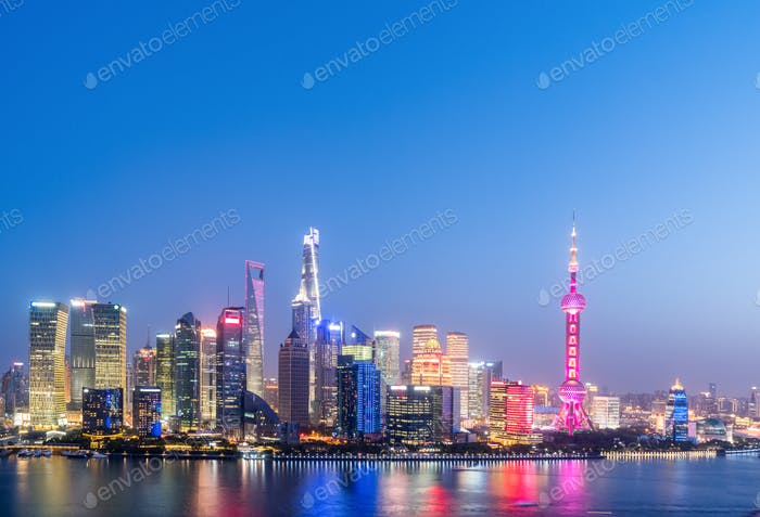 beautiful shanghai cityscape in nightfall