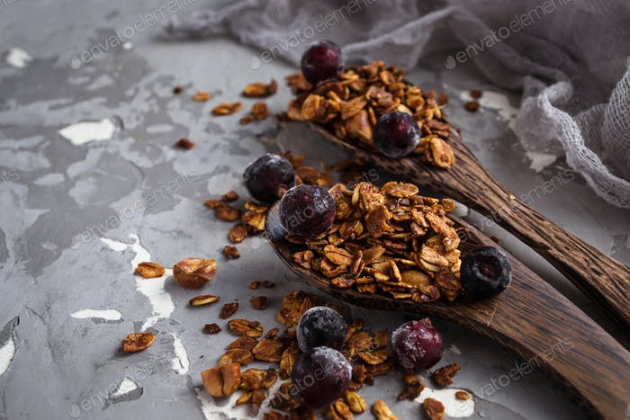 Homemade granola with nuts and berry