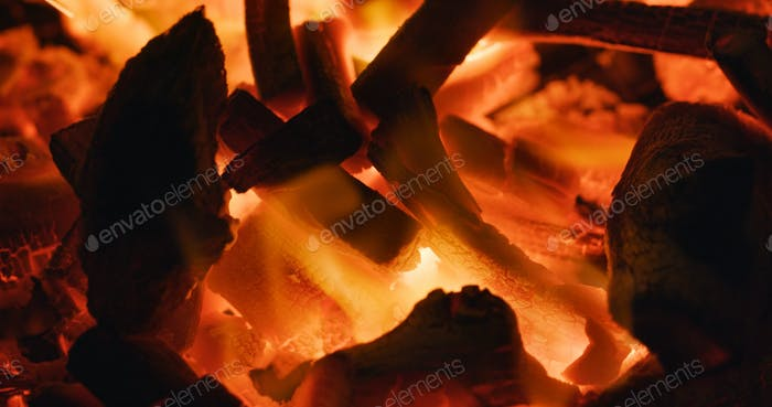 Hot Flaming Charcoal