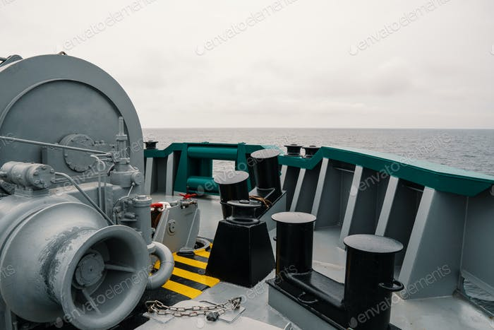 mooring equipment of ship. Mooring bollards, capstan and winch
