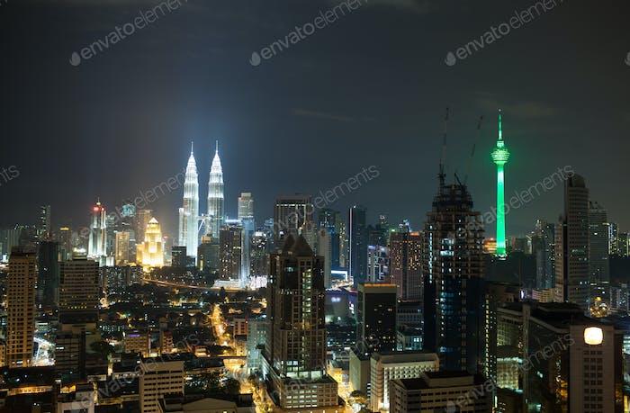 Night cityscape of Kuala Lumpur, Malaysia