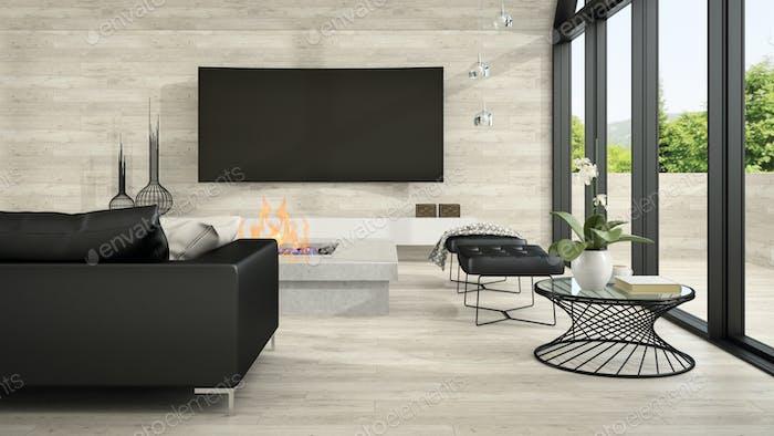 Interior of modern design living room 3D rendering 5