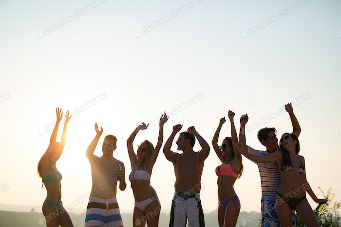 Friends partying during summer vacation