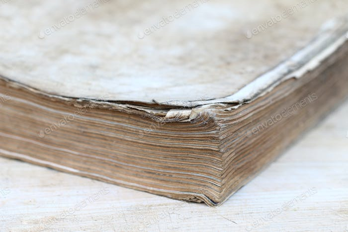 Dog-ears of the pages of old book