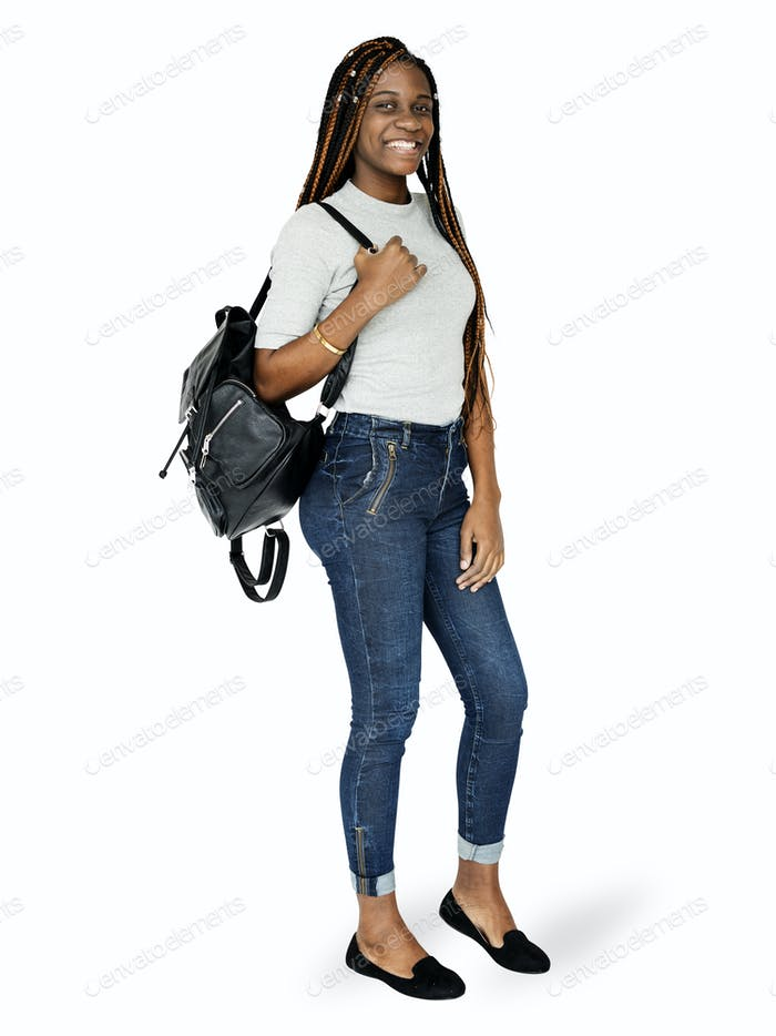 Black teenage girl student mockup