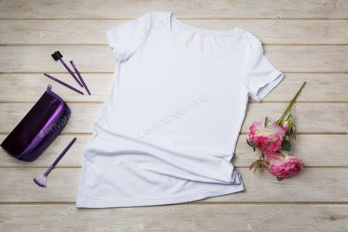 Placeit – Women T-shirt mockup with purple cosmetic bag and roses