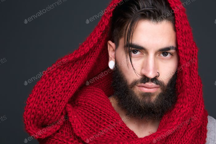 Male fashion model with wool scarf