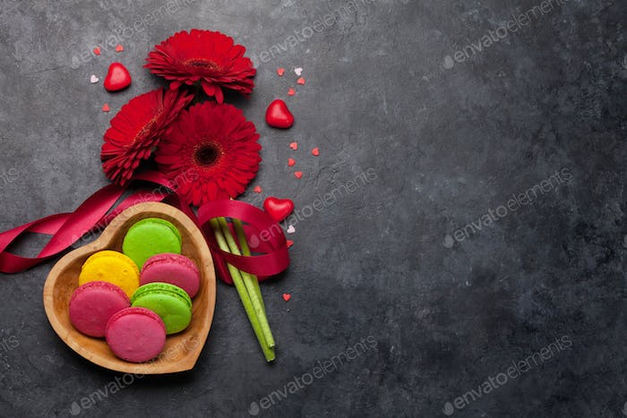 Valentines day card with macaroons and flowers