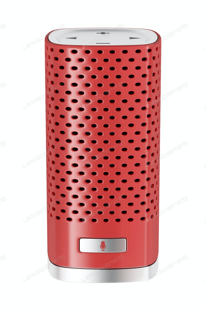 Red smart speaker isolated on white