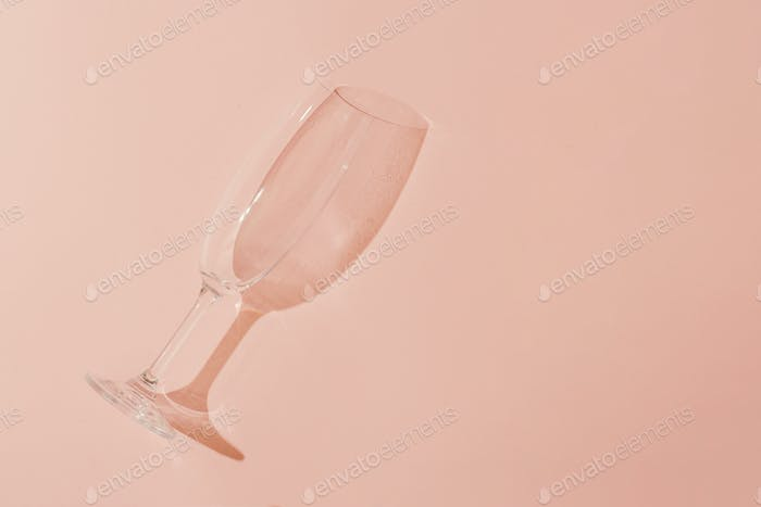 Minimal style. Champagne glass on pastel coral background.