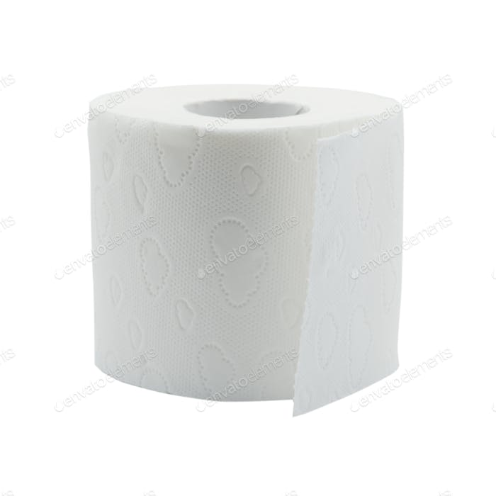 White toilet paper isolated on white background