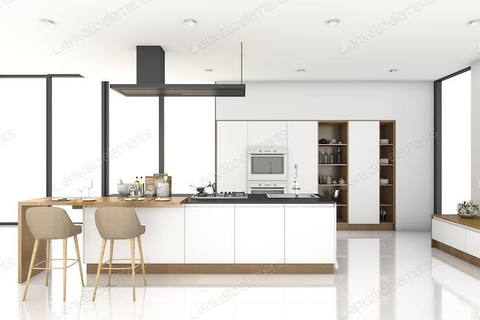 3d rendering white modern kitchen near window