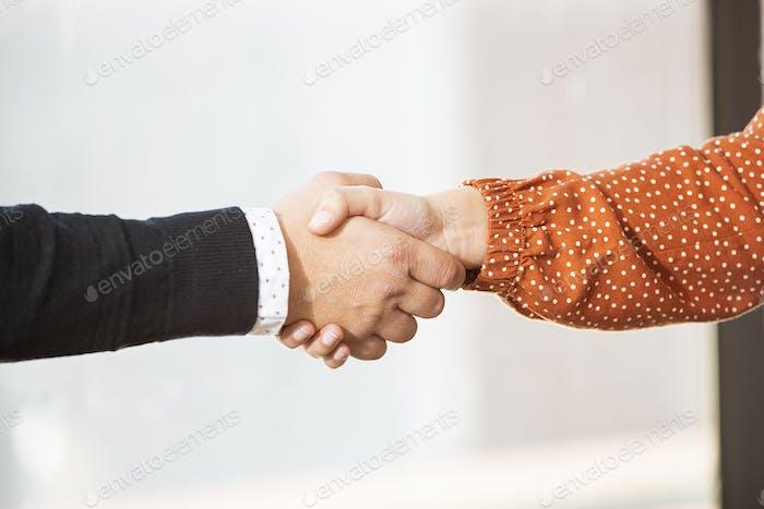 Primer plano de los socios de negocios que dan la mano