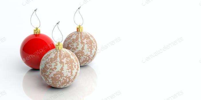 Weihnachtskugeln mit Militärmuster isoliert auf weißem Hintergrund. 3D Illustration