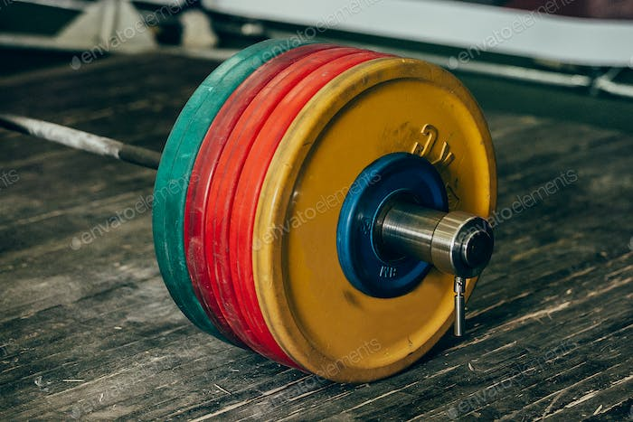 heavy barbell with five plates