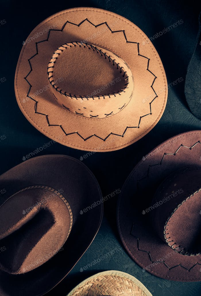 cowboy hat on  black