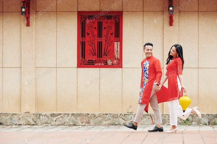 Couple celebrating Lunar New Year