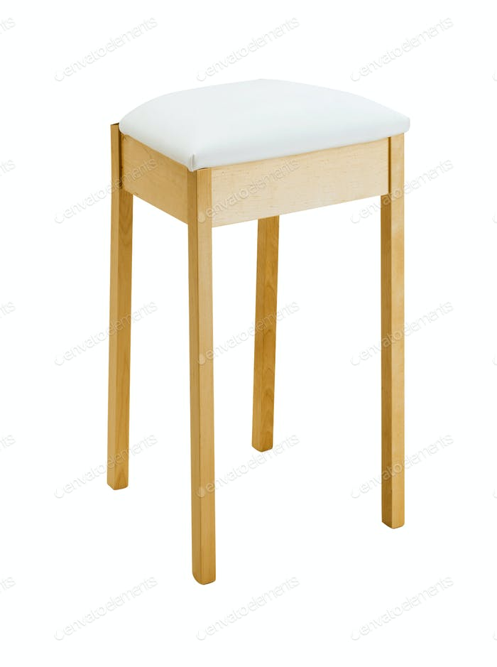 Bar padded wooden stool isolated