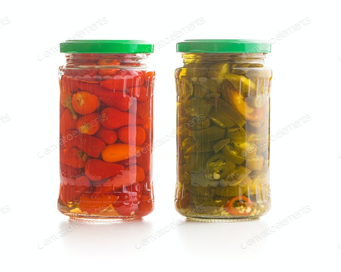 Pickled chili peppers and jalapeno peppers.