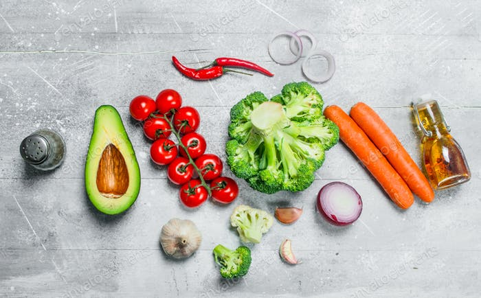 Organic food. Assortment of healthy vegetables .