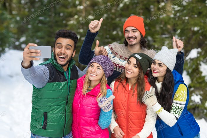 Man Hold Smart Phone Camera Taking Selfie Photo Snow Forest Young People Group Outdoor Winter