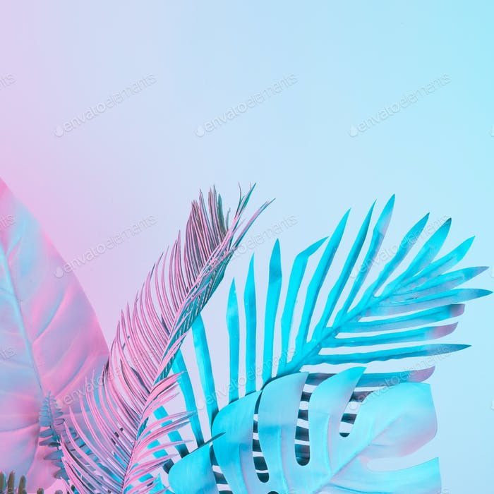 Tropical and palm leaves in vibrant bold gradient holographic colors. Concept art.