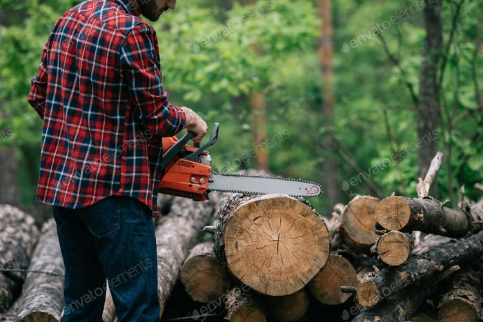 partial view of lumberjack cutting trunk with chainsaw in forest