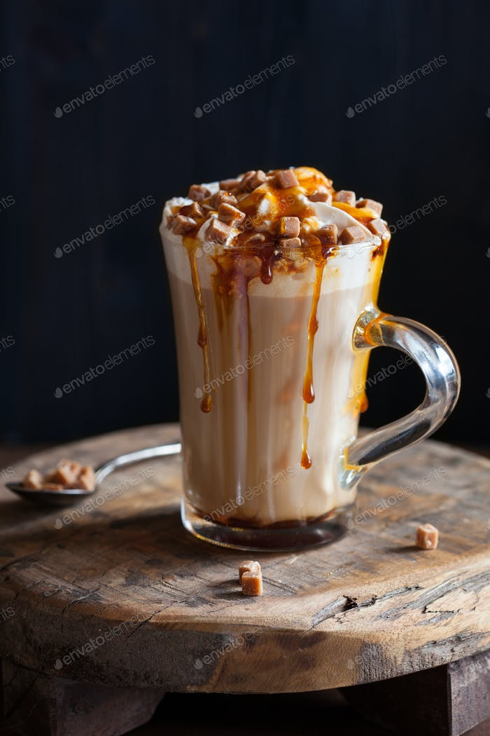 cafe latte with whipped cream and caramel