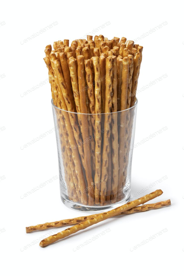 Glass with salted Pretzel sticks