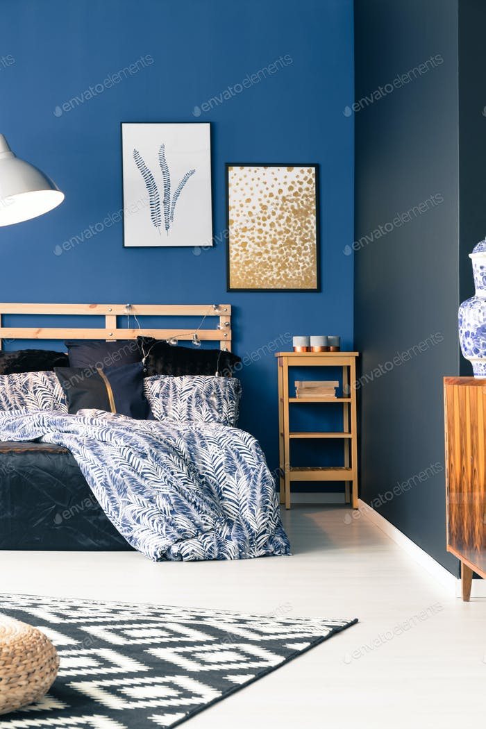 Black and blue bedroom