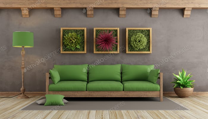 Retro living room with green sofa photo by archideaphoto on ...