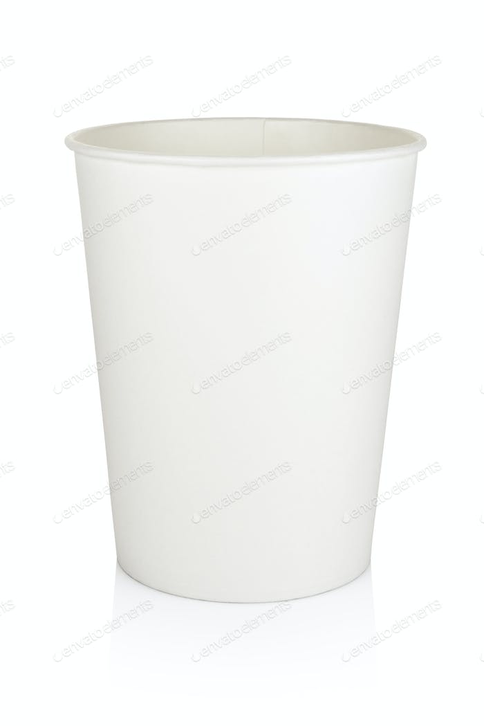White disposable cardboard bucket isolated on white.