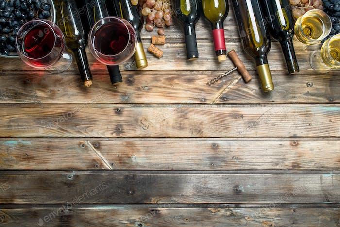 Wein-Hintergrund. Weiß- und Rotwein.